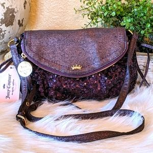 NWT Juicy Couture Purple Sequined Denim Crossbody